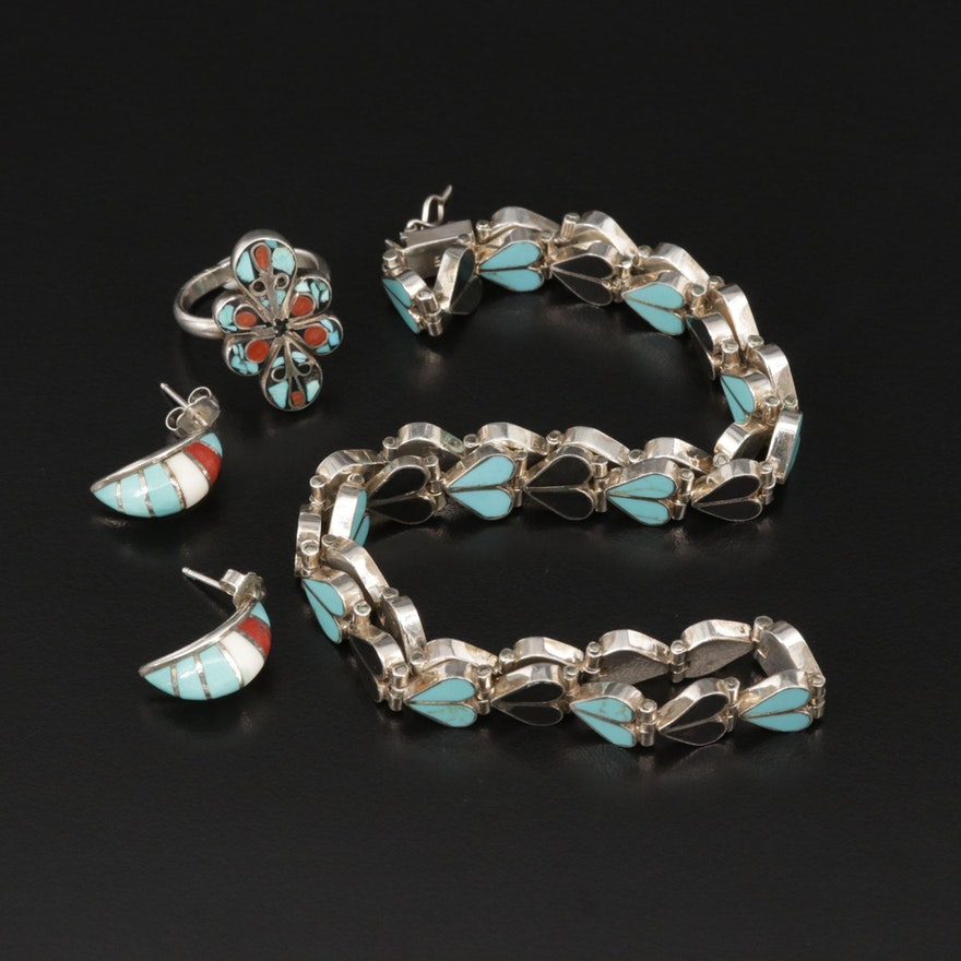 Sterling Black Onyx, Turquoise and Coral Jewelry