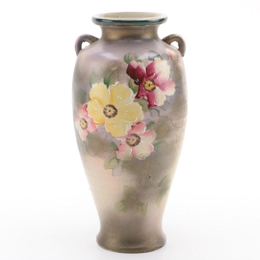 Japanese Hand-Painted Amphora Style Vase