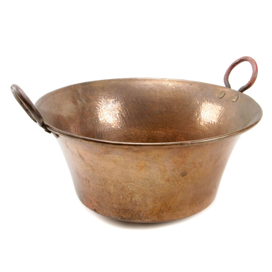 Copper Pot with Handles, Early to Mid 20th Century