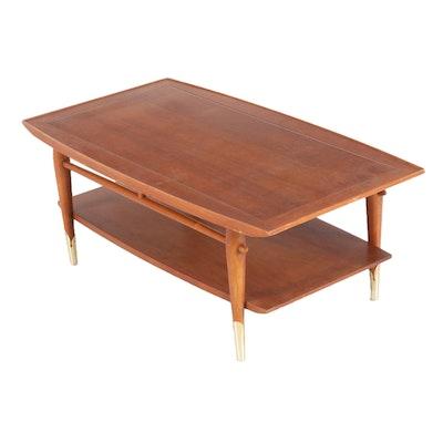 "Lane Mid Century Modern ""Copenhagen"" Walnut Coffee Table"