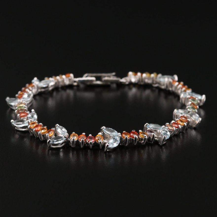 Sterling Silver Sapphire and Aquamarine Bracelet