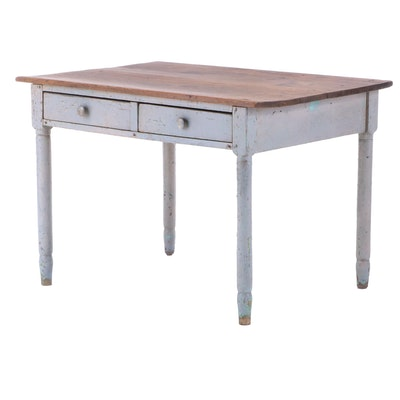 American Primitive Painted Wood Farm Table, Mid-19th Century