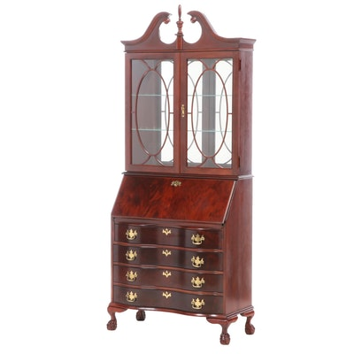Jasper Cabinet Chippendale Style Mahogany-Veneered & Stained Secretary Bookcase