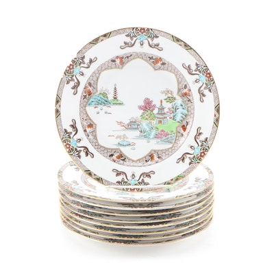 "Spode ""Landscape"" Bone China Plates, Mid to Late 20th Century"