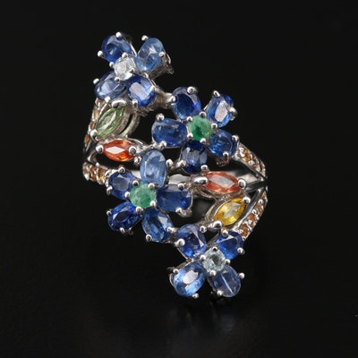 Sterling Silver Kyanite, Emerald and Sapphire Floral Ring