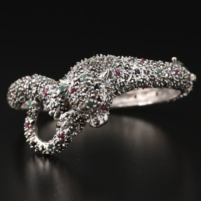 Sterling Silver Ruby, Sapphire and Emerald Feline Hinged Bracelet