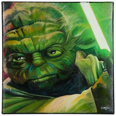 Chris Cargill Acrylic Painting of Yoda
