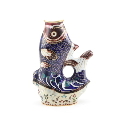 Chinese Cloisonné Figural Fish Vase, 20th Century
