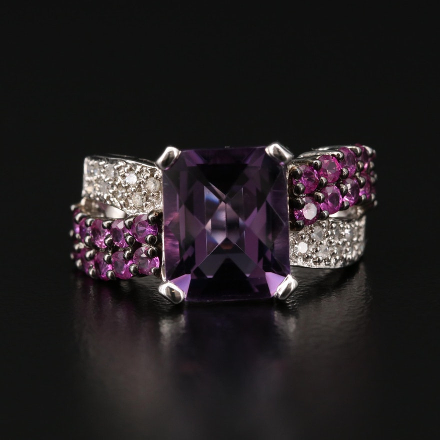 14K Gold Amethyst, Pink Sapphire and Diamond Ring