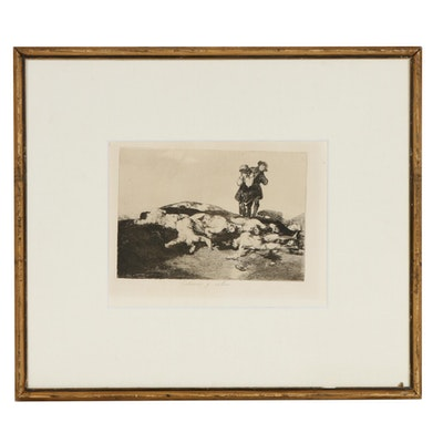 """Francisco de Goya Restrike Etching """"Enterrar y Callar"""""""