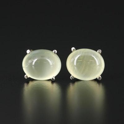 14K White Gold Prehnite Stud Earrings
