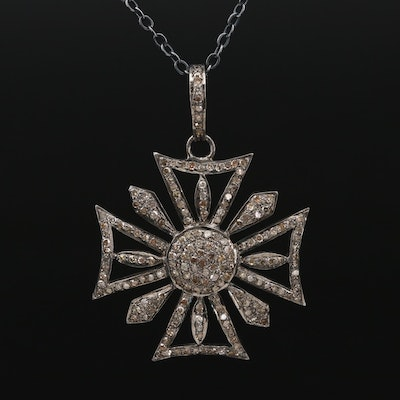 Sterling Diamond Maltese Cross Pendant Necklace