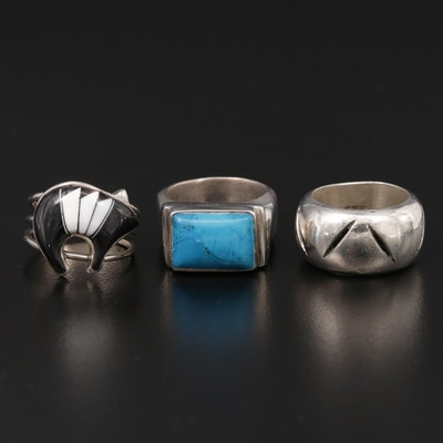 Mexican and Southwestern Style Sterling Silver Rings Including Onyx Accent