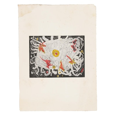 Michael Ponce de León Abstract Etching, Late 20th Century
