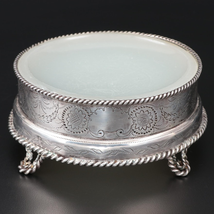 William Gale & Son Engraved Coin Silver Pedestal Butter Dish, 1850–1866