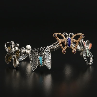 Relios by Carolyn Pollack Sterling Silver Coral and Gemstone Butterfly Bracelet