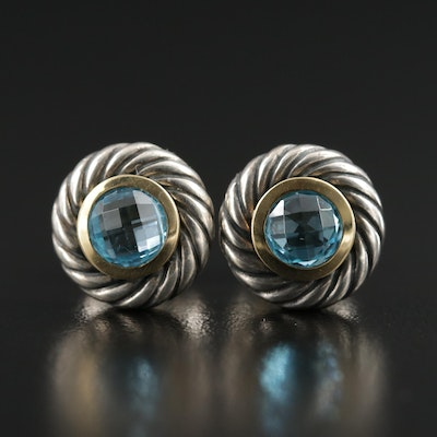 David Yurman Sterling Silver Blue Topaz Earrings with 18K Gold Accents