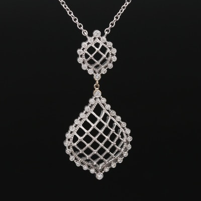 Leslie Greene 18K White Gold Diamond Filigree Necklace