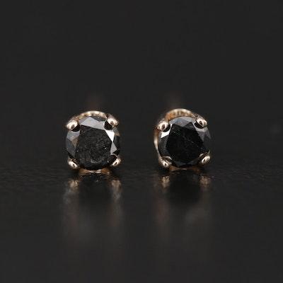 14K Yellow Gold 0.21 CTW Black Diamond Stud Earrings