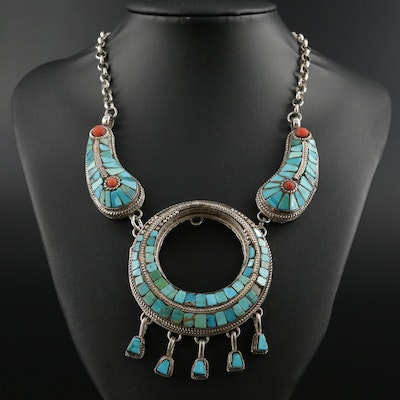 Tibetan Sterling Silver Turquoise and Coral Necklace