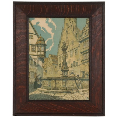 Colored Lithograph of Town Square