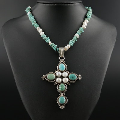 Sterling Pendant Necklace with Turquoise and Pearl