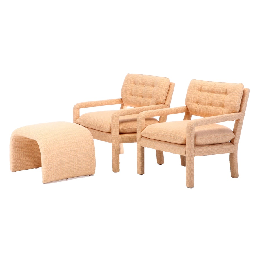 Button Tufted Upholstered Lounge Chairs with Ottoman, 1970s