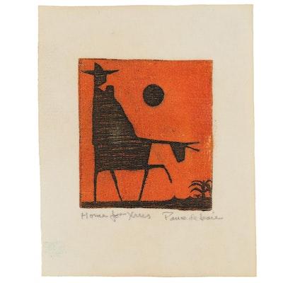 "Michael Ponce de León Miniature Etching ""Home for Xmas"""