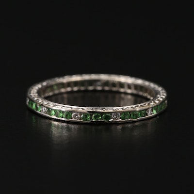 18K White Gold Diamond and Peridot Eternity Band