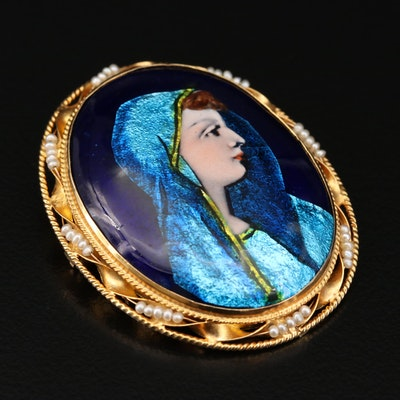 14K Gold Limoges Enamel and Seed Pearl Portrait Converter Brooch