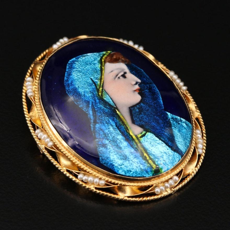 14K Gold Limoges Enamel and Seed Pearl Portrait Converter Brooch
