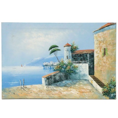 Oil Painting of a Mediterranean Seaside, Late 20th Century