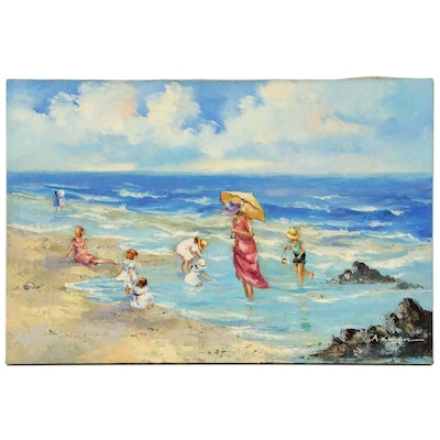 Oil Painting of a Beach Scene, Late 20th Century