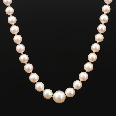 Vintage Mikimoto Graduated Cultured Pearl Strand Necklace with Sterling Clasp