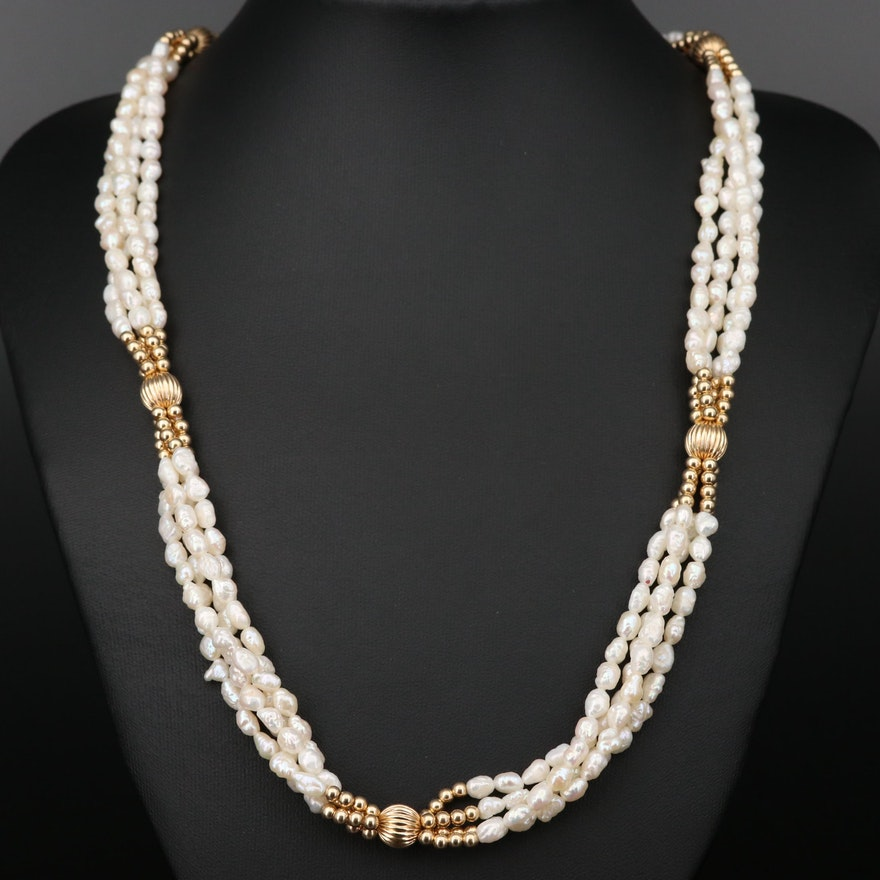 14K Yellow Gold Pearl Multi-Strand Necklace