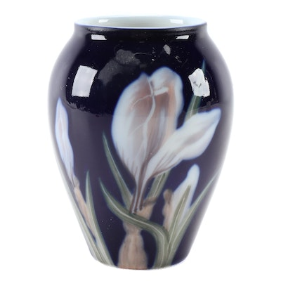 Royal Copenhagen Deep Blue Vase with White Flower, Late 19th/Early 20th Century
