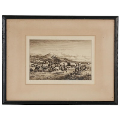 "Etching After Charles A. Vanderhoof ""The Old Santa Fe Trail"""