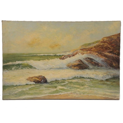 Earl Collins Seascape Oil Painting, Late 20th Century