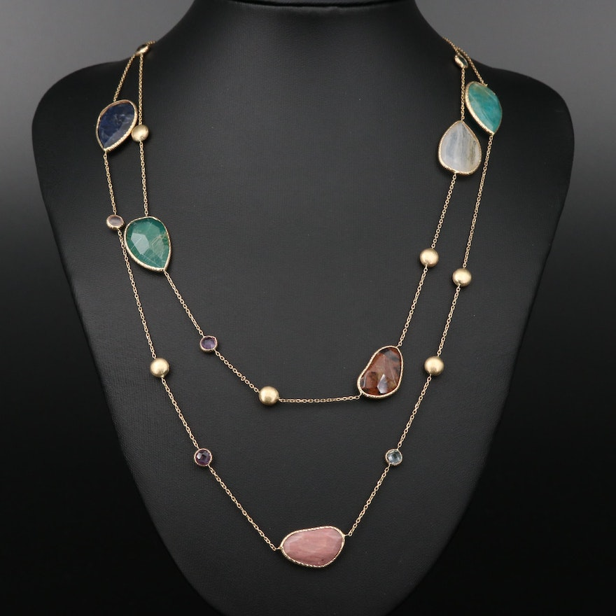 14K Yellow Gold Station Necklace Featuring Rutilated Quartz and Gemstone Accents