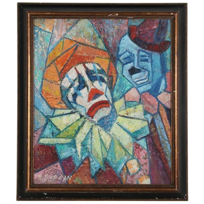 Impasto Sad Clown Oil Painting
