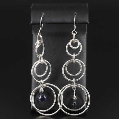Sterling Silver Iolite Drop Earrings