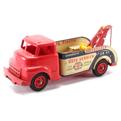Wyandotte Emergency Auto Service Tin Lithograph and Plastic Wrecker Tow Truck
