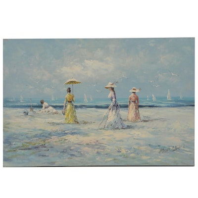 Marie Charlot Oil Painting of a Beach Scene, Late 20th Century