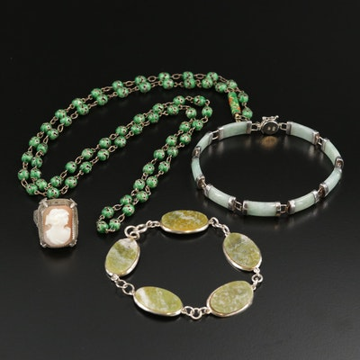 800 and Sterling Silver Jewelry with Helmet Shell, Jadeite and Enamel