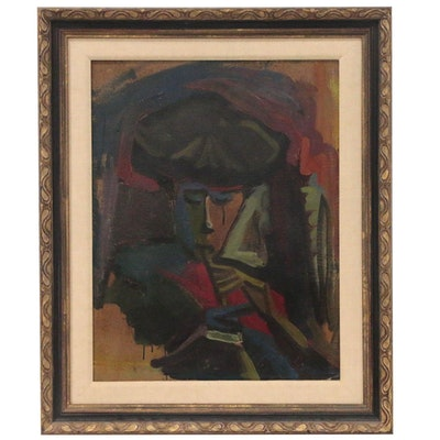 Abstract Oil Painting of Figure Playing Flute