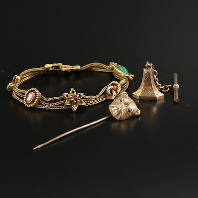 Victorian 10K Yellow Gold Watch Fob with Bracelet and Dog Stick Pin