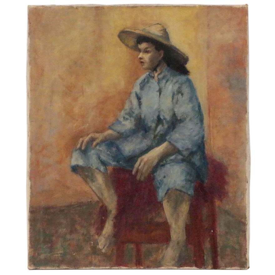 Figural Oil Painting, Mid to Late 20th Century