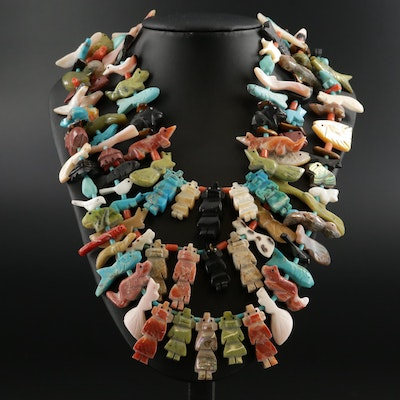 Sterling Silver Turquoise, Mother of Pearl, Coral and Abalone Fetish Necklace