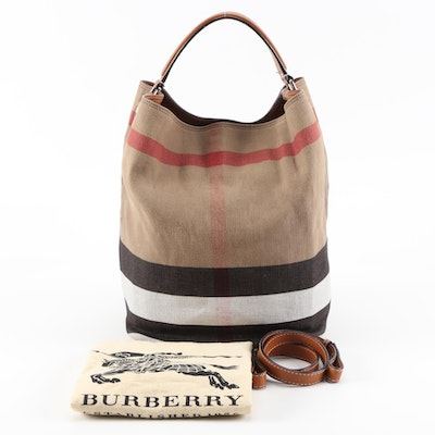 Burberry Ashby Check Canvas and Tan Leather Hobo Bucket Bag