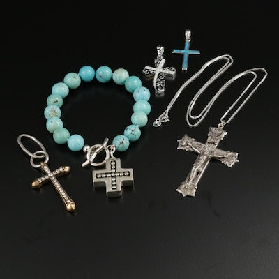 Sterling Silver Cross Jewelry with Glass, Synthetic Opal and Turquoise